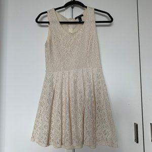Cute Laced Cream Mini Sun Dress A-line Small